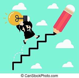 mujer, success., empresa / negocio, subidas, escalera, arriba, tenencia, corporativo