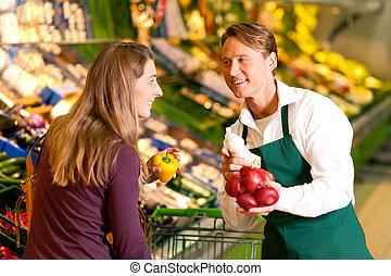 mujer, supermercado