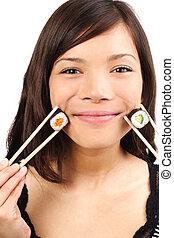 mujer, sushi