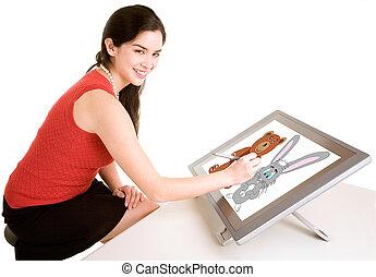 mujer, tableta de dibujo, digital