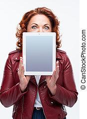 mujer, tableta, digital