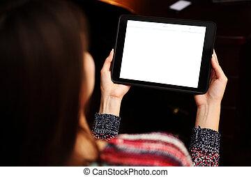 mujer, tableta, espalda, computadora, tenencia, retrato, ...