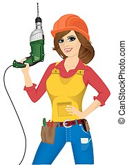 mujer, taladro, trabajador