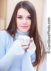 mujer, taza, té, suéter, joven, caliente, tibio, bebida,...