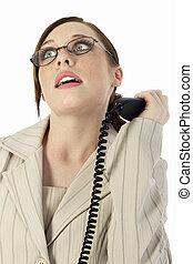 mujer, teléfono