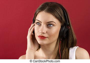 mujer, teléfono, auriculares, jugador, música, bailando,...