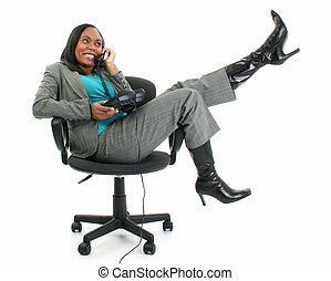 mujer, teléfono, silla