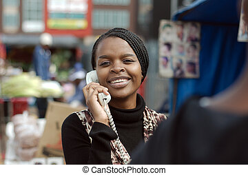 mujer, teléfono, vocación, norteamericano, negro, landline, africano, alexandra, township, o