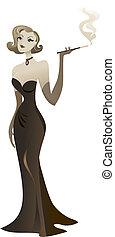 mujer, tenedor, retro, elegante, cigarrillo