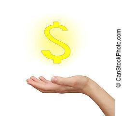 mujer, tenencia de la mano, amarillo, muestra del dólar, aislado, en, white., empresa / negocio