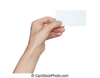 mujer, tenencia de la mano, tarjeta comercial en blanco, aislado, blanco, plano de fondo
