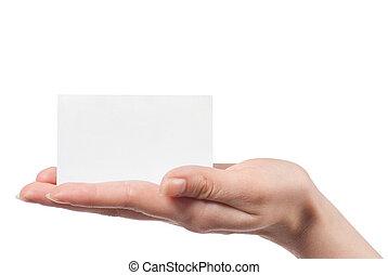 mujer, tenencia de la mano, vacío, tarjeta visitante, y,...
