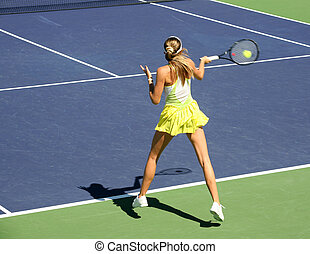 mujer, tenis, juego
