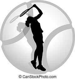 mujer, tenis, servidor, silueta