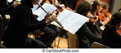 mujer, tocar la flauta