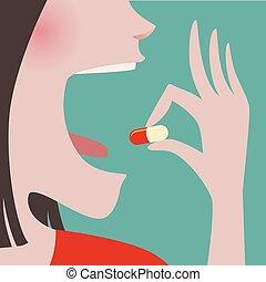 mujer, toma, un, píldora, en, a, ella, boca