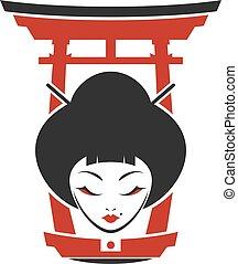 mujer, torii, japón, puerta