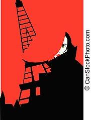 mujer, torre, parisiense, eiffel, ilustración