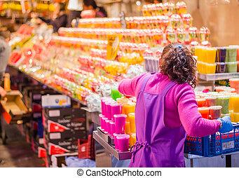 Ramblas mercado fresco la empacado boqueria famoso - Calle boqueria barcelona ...