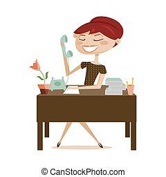 mujer, trabajando, aislado, retro
