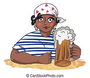 mujer, trabajando, imagen, duro, cerveza, caricatura
