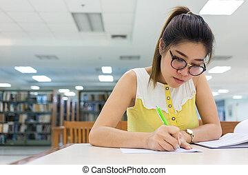 mujer, trabajando, papel, estudio, escritura, educación, mujeres