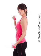 mujer, trabajando, pesas libres, condición física, retrato, afuera
