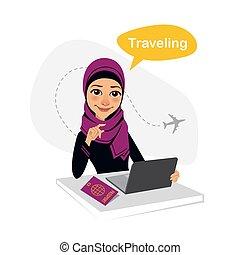 mujer, trabajando, sentado, oficina., agencia de viajes, ...