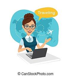 mujer, trabajando, sentado, oficina., viaje, banner., ...