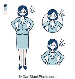 mujer, traje, mask_anger, simple, empresa / negocio