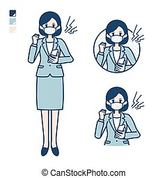 mujer, traje, simple, mask_smartphone-anger, empresa / negocio