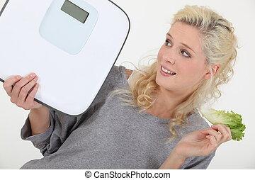 mujer, tratar, peso, perder