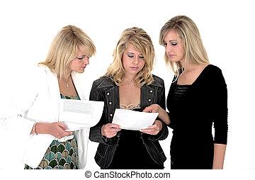 mujer, tres, negocio 4