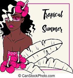 mujer tropical, de piel oscura, ilustración