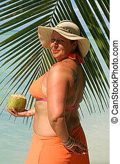 mujer tropical, playa