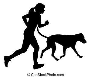 mujer, trota, perro