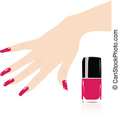 mujer, uñas, vector, rojo, mano