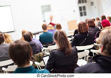 mujer, university., dictar una conferencia