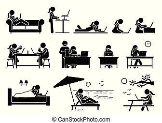 mujer, usar ordenador, en, diferente, posturas, posturas, y, places.