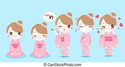 mujer, uso, kimono