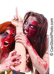 mujer, vampiro, aislado, en, el, plano de fondo