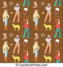 mujer, vaquero, pattern., seamless, ilustración, fondo., norteamericano, vector, retro, vaqueras, ropa