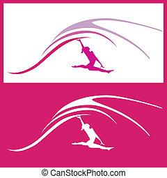 mujer, vector, gimnasia