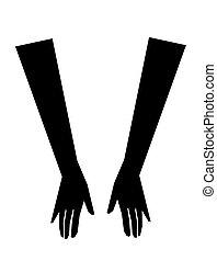 mujer, vector, guantes, ilustración