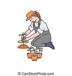 mujer, vector, ilustración, bosquejo, granjero, isolated., trabaja, campo, agronomist