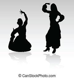 mujer, vector, indio, silhoue, bailando