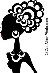 mujer, vector, negro
