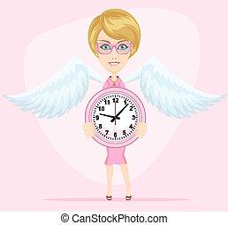 mujer, vector, reloj, tenencia