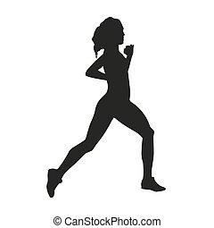 mujer, vector, silueta, run.