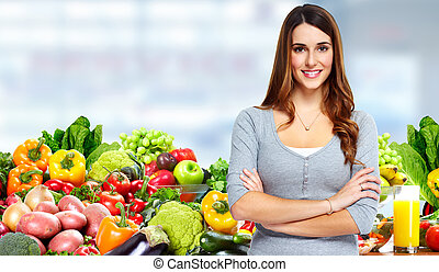 mujer, vegetables., fruits